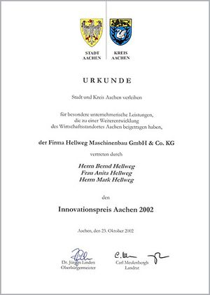 Urkunde - Innovationspreis 2002